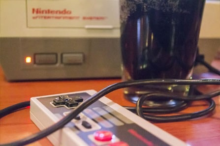 Nintendo and a beer at a Games Done Legit corporate event